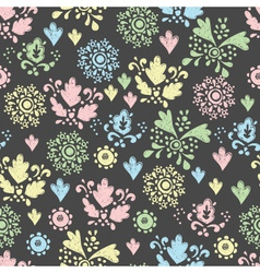 Seamless floral pattern drawn in chalk vector
