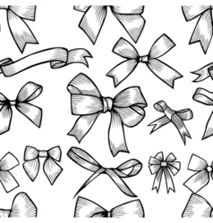Seamless pattern with hand drawn bow vector