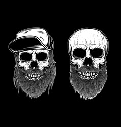 set of bearded skulls isolated on dark background vector image vector image