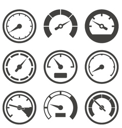 Set of speedometers and dashboard device scales vector image