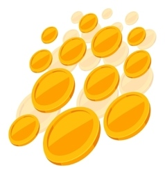 Shiny golden coins falling on white background vector
