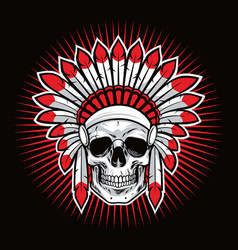 Skull of indian native american warrior mascot vector