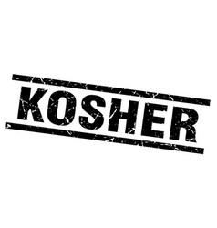 square grunge black kosher stamp vector image vector image