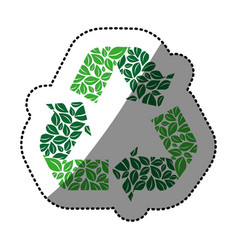 Sticker green recycling symbol with arrows and vector