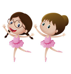 two girls in pink dress doing ballet vector image