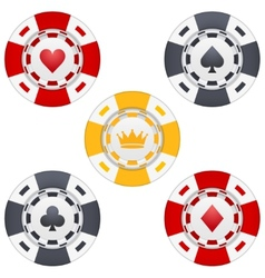Universal casino chips with playing cards icons vector image vector image