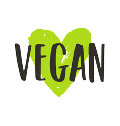 vegan lettering and green ink heart vector image vector image
