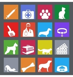 Veterinary clinic set with dog and cat and vector