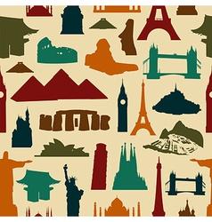 World landmark silhouettes pattern vector