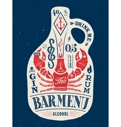 Poster bottle of alcohol with hand drawn lettering vector