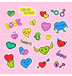 Fashion patch badges pop art hearts set stickers vector