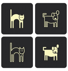 Cat and dog icons vector