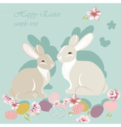Happy easter card with cute rabbits vector