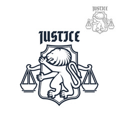 justice and law heraldic lion scales icon vector image