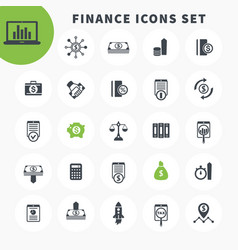 25 finance icons set investing funds assets vector