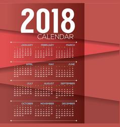 2018 red modern layer printable calendar vector