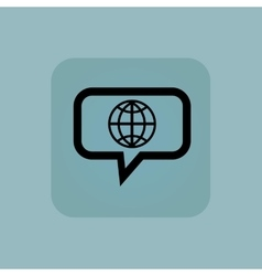 Pale blue globe message icon vector