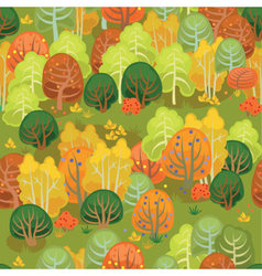 Forest in autumn in yellow and green vector