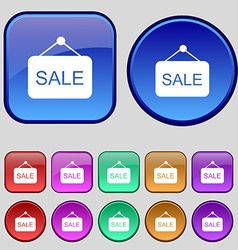 Sale icon sign a set of twelve vintage buttons for vector
