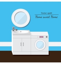 Washing and sink 3d interior blue background vector