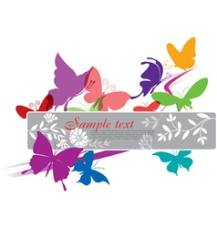 Banner with colorful butterflies vector