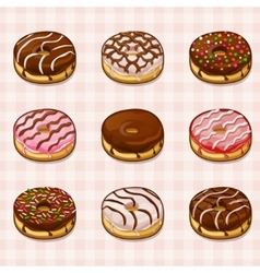 Donuts with different fillings and frostings vector