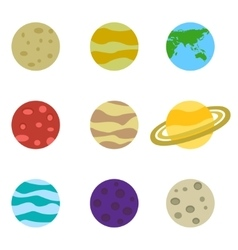 Planets colorful set icons vector