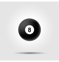 Billiard ball 8 on white background with shadow vector
