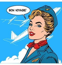 Bon voyage stewardess airplane travel tourism vector