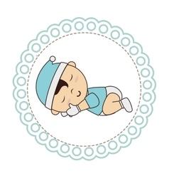 Cute baby sleeping card vector