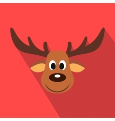 Deer christmas flat icon vector image