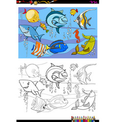 fish characters group color book vector image