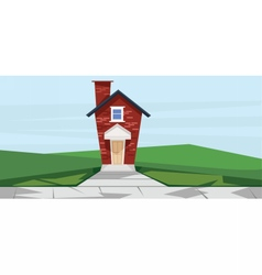 flat cartoon style red two floor house vector image vector image