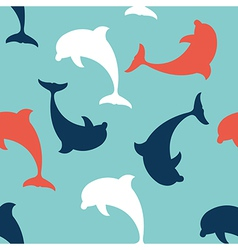 Flat Design Dolphin seamless pattern background vector image vector image