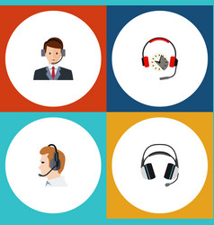 Flat telemarketing set of telemarketing hotline vector