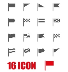 grey flag icon set vector image