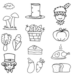 Hand draw of thanksgiving set doodles vector