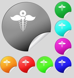 Health care icon sign set of eight multi colored vector