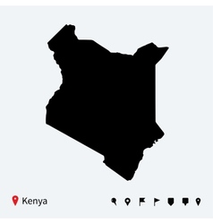 High detailed map of kenya with navigation pins vector