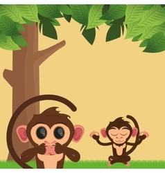 Jungle monkeys cartoon vector