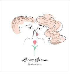 Kissing drawing vector