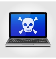 Laptop with skull on the blue screen vector image