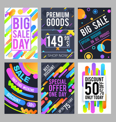 modern and trendy sale banners with discount and vector image