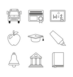 monochrome set silhouettes of education icons vector image vector image