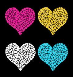 Mosaic hearts vector image vector image