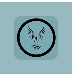 Pale blue flying bird sign vector