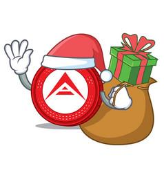 Santa with gift ark coin mascot cartoon vector