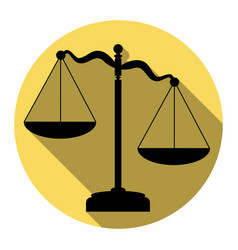 scales of justice sign flat black icon vector image