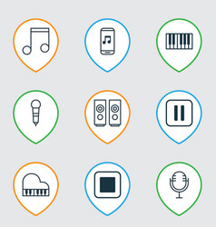 Set of 9 multimedia icons includes sound box vector
