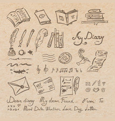 Set of education and writing instruments vector